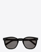 SAINT LAURENT CLASSIC E classic 28 sunglasses in shiny black acetate with smoke lenses f