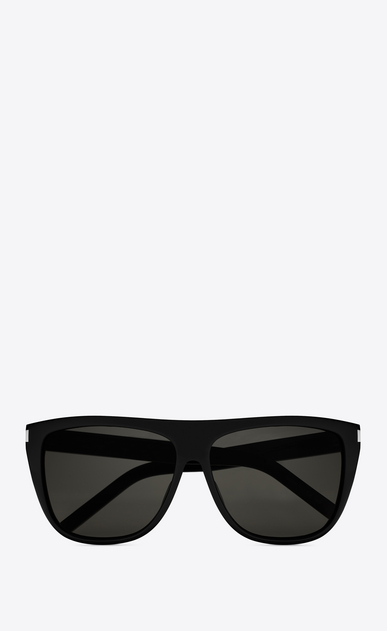 SAINT LAURENT NEW WAVE E new wave 1 sunglasses in shiny black acetate with smoke lenses a_V4