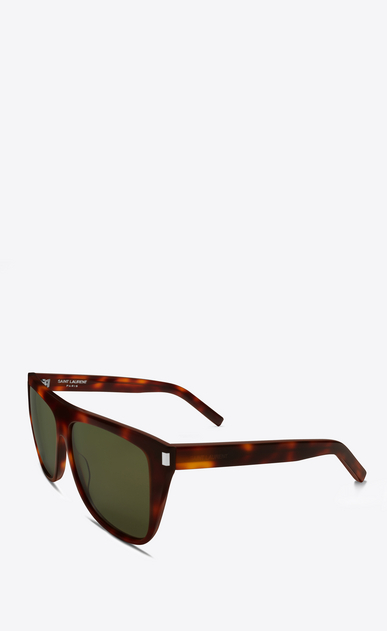 SAINT LAURENT NEW WAVE E new wave 1 sunglasses in shiny light havana acetate with green lenses b_V4