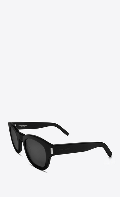 SAINT LAURENT BOLD E bold 2 sunglasses in shiny black acetate with grey lenses b_V4