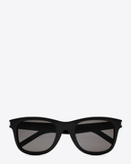 SAINT LAURENT CLASSIC E classic 51 sunglasses in shiny black acetate with smoke lenses f