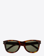 SAINT LAURENT CLASSIC E classic 51 sunglasses in shiny light havana acetate with green lenses f