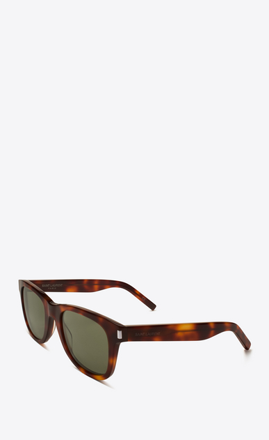 SAINT LAURENT CLASSIC E classic 51 sunglasses in shiny light havana acetate with green lenses b_V4