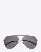 SAINT LAURENT Sunglasses U クラシック 85 シューター アビエーターサングラス(シャイニーシルバー/スティール製/スモークレンズ) f