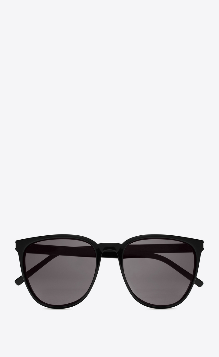 Saint Laurent New Wave 94 Sunglasses In Shiny Black