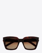 SAINT LAURENT BOLD D bold 1 sunglasses in shiny dark havana acetate with brown gradient lenses f