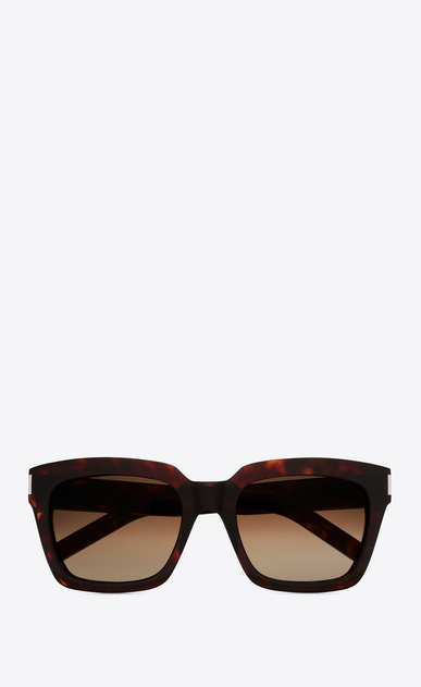 SAINT LAURENT BOLD D bold 1 sunglasses in shiny dark havana acetate with brown gradient lenses a_V4