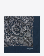 Square Scarf in Midnight Blue and Off White Paisley Printed Cashmere and Silk Étamine