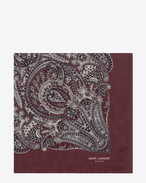 Square Scarf in Bordeaux and Off White Paisley Printed Cashmere and Silk Étamine