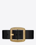 CARRÉE SAINT LAURENT Buckle Corset Belt in Black Patent Leather and Aged Gold-Toned Metal