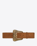 SAINT LAURENT Wide Belts D WESTERN Corset Belt in Whiskey Suede and Aged Gold-Toned Metal f