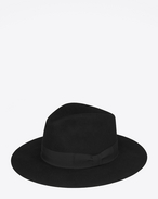 SAINT LAURENT Hats U NEW BOWIE Fedora Hat in Black Felted Rabbit Fur f