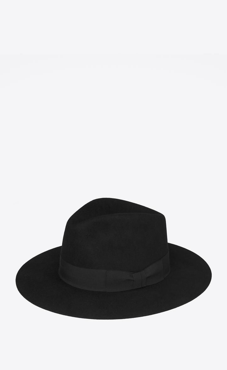Saint Laurent NEW BOWIE Fedora Hat In Black Felted Rabbit Fur ... c54407d7181