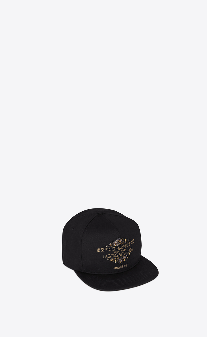 0ebd030e1c8 Saint Laurent PALLADIUM Hat In Black Denim Cotton Twill