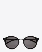 SAINT LAURENT Sunglasses E クラシック 57 サングラス(シャイニーブラック/アセテート製/シャイニーシルバー/スティール製/スモークレンズ) f