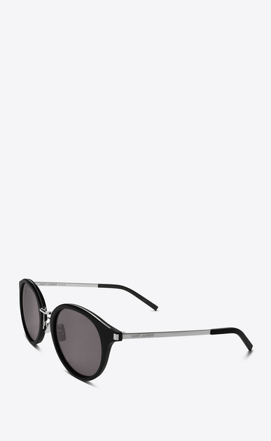 SAINT LAURENT CLASSIC E classic 57 sunglasses in shiny black acetate and shiny silver steel with smoke lenses b_V4