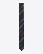 SAINT LAURENT Skinny Ties U Signature Collegiate Striped Skinny Tie in Navy Blue and Bordeaux Silk Jacquard f