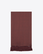 SAINT LAURENT Large scarves U Signature Scarf in Bordeaux and Off White Polka Dot Printed Silk f