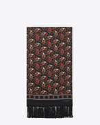 SAINT LAURENT Large scarves U Signature Scarf in Black and Red Paisley Printed Silk f