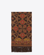 SAINT LAURENT Large scarves U Signature Scarf in Brown and Red Paisley Printed Silk f