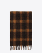 SAINT LAURENT Large scarves U Classic Scarf in Black and Ocher Plaid Wool f
