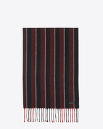 SAINT LAURENT Large scarves U Classic Scarf in Black and Red Striped Wool Jacquard f