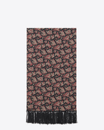 SAINT LAURENT Large scarves U signature scarf in black and red english paisley printed silk f