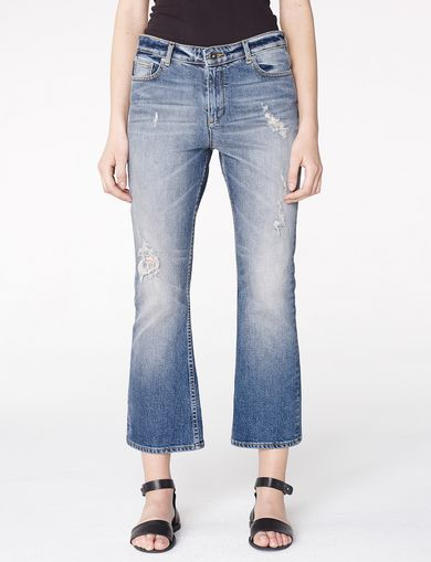 ARMANI EXCHANGE Distressed Crop Flare Jean Woman front