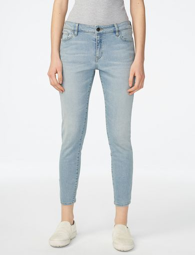 ARMANI EXCHANGE Cropped Light-Wash Skinny Jean Woman front