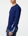 ARMANI EXCHANGE Aerial Camo Pieced Henley Long Sleeve tee Man d