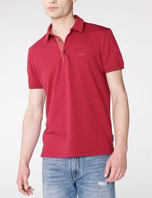 ARMANI EXCHANGE Contrast Placket Pique Polo SHORT SLEEVES POLO U f