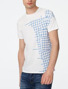ARMANI EXCHANGE Broken Grid Split Tee Short Sleeve Tee U f