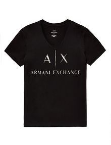ARMANI EXCHANGE Mixed Print Logo V-Neck Graphic Tee U d