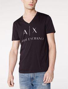 ARMANI EXCHANGE Mixed Print Logo V-Neck Graphic T-shirt U f
