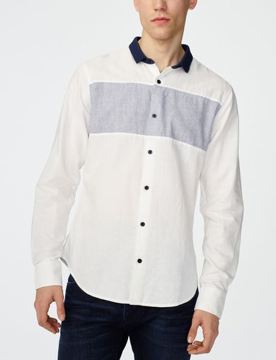 ARMANI EXCHANGE Contrast Pieced Linen Shirt Man front