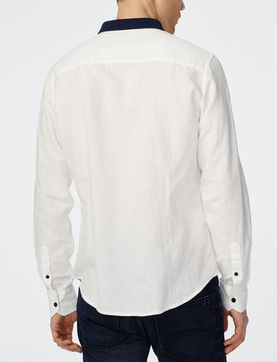 ARMANI EXCHANGE Contrast Pieced Linen Shirt Man retro