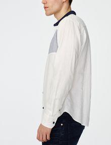 ARMANI EXCHANGE Contrast Pieced Linen Shirt Long sleeve shirt Man d
