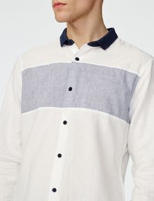 ARMANI EXCHANGE Contrast Pieced Linen Shirt Long sleeve shirt U e