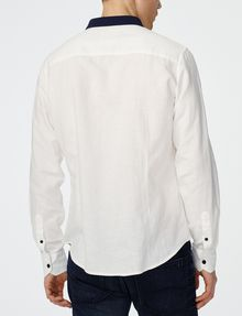 ARMANI EXCHANGE Contrast Pieced Linen Shirt Long sleeve shirt U r