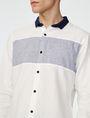 ARMANI EXCHANGE Contrast Pieced Linen Shirt Long sleeve shirt Man e