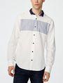 ARMANI EXCHANGE Contrast Pieced Linen Shirt Long sleeve shirt Man f