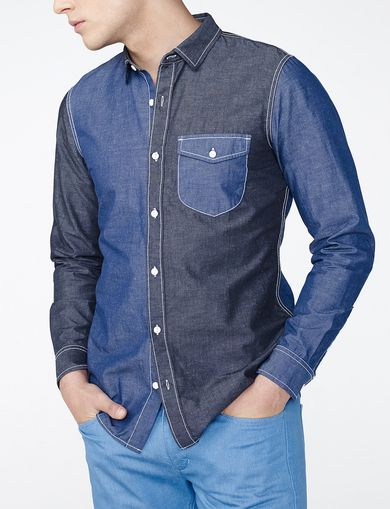 ARMANI EXCHANGE Pieced Utility Shirt Man front