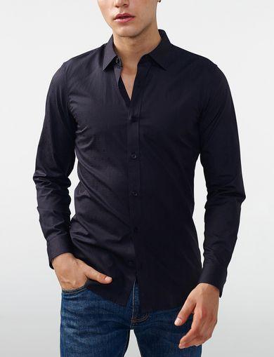 ARMANI EXCHANGE Textured Cotton Shirt Man front