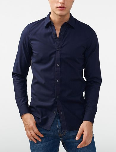 ARMANI EXCHANGE Textured No-Iron Slim-Fit Shirt Man front