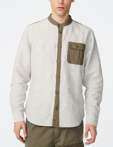 ARMANI EXCHANGE Band Colllar Linen Shirt Long sleeve shirt U f