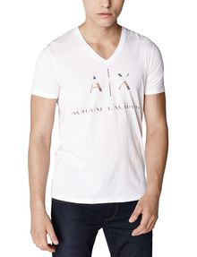 ARMANI EXCHANGE Mixed Print Logo V-Neck Graphic Tee U f