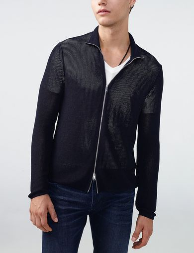 ARMANI EXCHANGE Rib-Stitch Mockneck Jacket Man front
