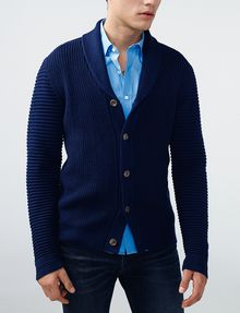 ARMANI EXCHANGE Textured Ottoman-Stitch Cardigan Cardigan Man f