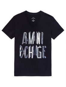 ARMANI EXCHANGE Op Art Logo Lines Tee Pima Tee [*** pickupInStoreShippingNotGuaranteed_info ***] d