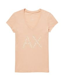 ARMANI EXCHANGE Crackle Foil Logo V-Neck Short Sleeve Tee Woman d